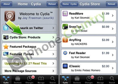 Entrare in Cydia Store